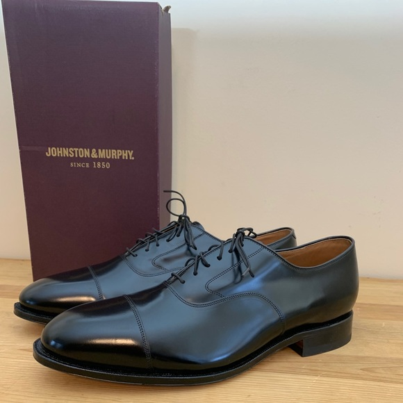 NWT Johnston & Murphy Melton Cap Black Shoes 13
